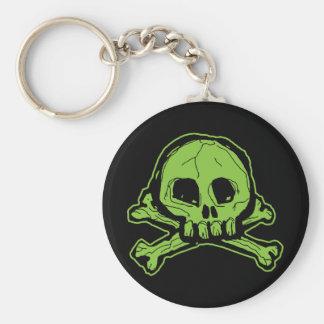 Green Scribbly Skull Key Chain