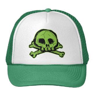 Green Scribbly Skull Trucker Hats