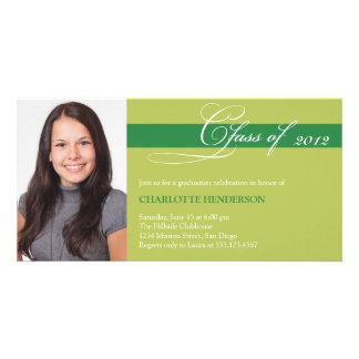 Green script class of graduation announcement photo card