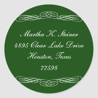 Green script elegant scroll holiday address label sticker