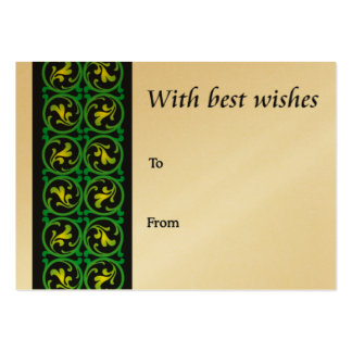 Green scroll design-best wishes business card templates