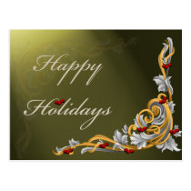 green scroll holly berries Greeting PostCards