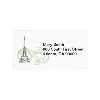 Green Scrolls and Eiffel Tower Label