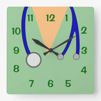 Green Scrubs and Stethoscope Clock 4 Veterinarians
