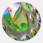Green Scupture Mirrors Glass Classic Round Sticker
