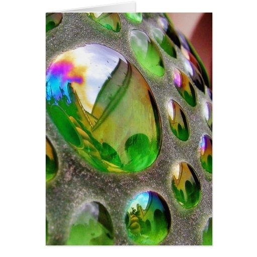 Green Scupture Mirrors Glass Greeting Card