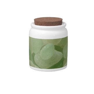 Green Sea Glass Flower Candy Dishes