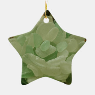 Green Sea Glass Flower Ceramic Ornament