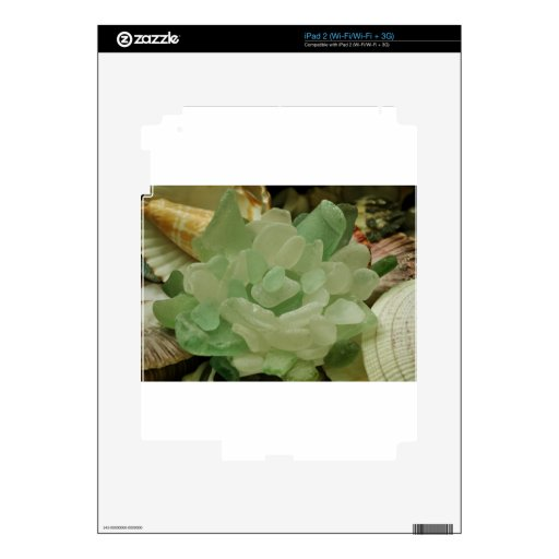 Green Sea Glass Flower Decal For The iPad 2