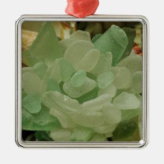 Green Sea Glass Flower Metal Ornament