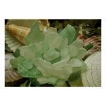 Green Sea Glass Flower Print