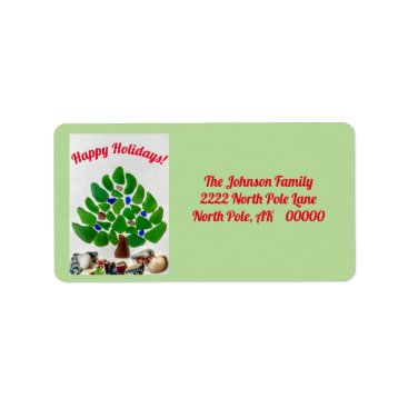 Beach Themed Green Sea Glass Happy Holidays Tree Address Labels