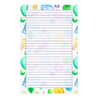 Green Sea Glass Watercolor Purple Lined Stationery