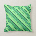 [ Thumbnail: Green, Sea Green, and Dark Slate Gray Colored Throw Pillow ]
