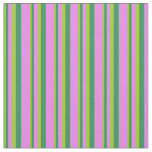 [ Thumbnail: Green, Sea Green, and Violet Colored Lines Fabric ]