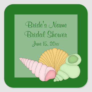 Green Sea Shells Bridal Shower Stickers