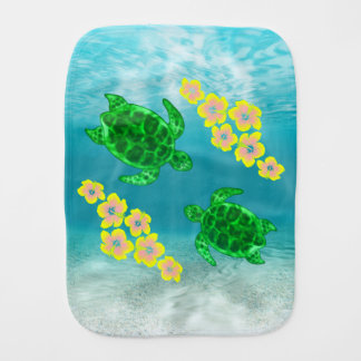 Green Sea Turltes Baby Burp Cloth