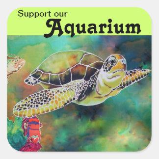 Green Sea Turtle Aquarium Support Sticker