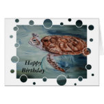 Green Sea Turtle bubbles Birthday Card Greeting Card