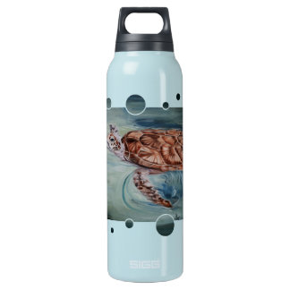 Green Sea Turtle Bubbles Insulated Water Bottle
