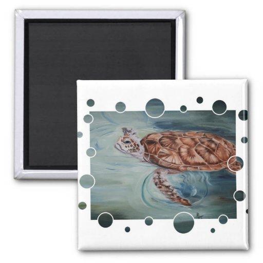 Green Sea Turtle bubbles Magnet