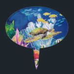 """Green sea turtle cake topper<br><div class=""""desc"""">Silk painting of a green sea turtle and friends.  Little gold fish,  angel fish and others share the sea with colorful seaweeds and corals.</div>"""