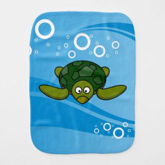 Green Sea Turtle Cartoon Baby Burp Cloth