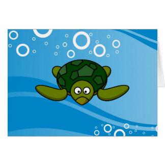 Green Sea Turtle Cartoon Card