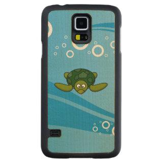 Green Sea Turtle Cartoon Carved® Maple Galaxy S5 Case