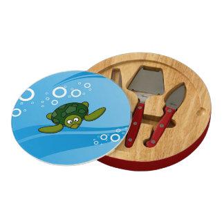 Green Sea Turtle Cartoon Cheese Board