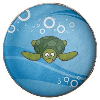 Green Sea Turtle Cartoon Chocolate Dipped Oreo