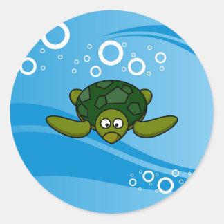 Green Sea Turtle Cartoon Classic Round Sticker