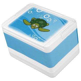 Green Sea Turtle Cartoon Drink Cooler