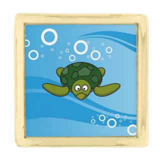 Green Sea Turtle Cartoon Gold Finish Lapel Pin