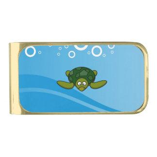 Green Sea Turtle Cartoon Gold Finish Money Clip