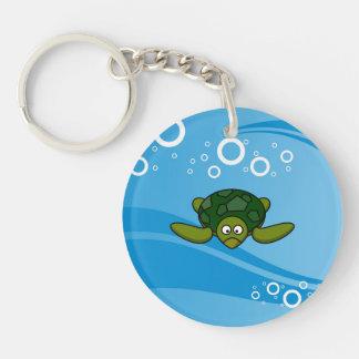Green Sea Turtle Cartoon Keychain