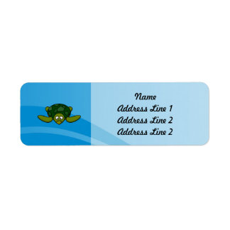Green Sea Turtle Cartoon Label