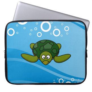 Green Sea Turtle Cartoon Laptop Sleeve