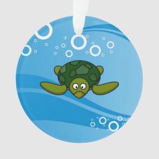 Green Sea Turtle Cartoon Ornament