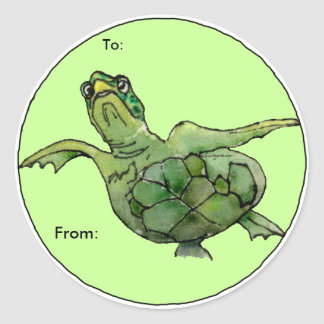 Green Sea Turtle Cartoon  Personalized Labels Classic Round Sticker