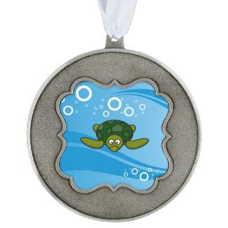 Green Sea Turtle Cartoon Pewter Ornament