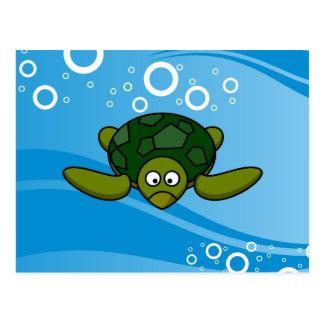 Green Sea Turtle Cartoon Postcard