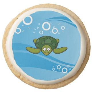 Green Sea Turtle Cartoon Round Shortbread Cookie