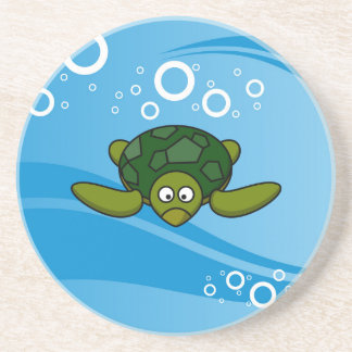 Green Sea Turtle Cartoon Sandstone Coaster