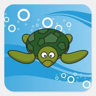 Green Sea Turtle Cartoon Square Sticker
