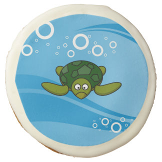 Green Sea Turtle Cartoon Sugar Cookie