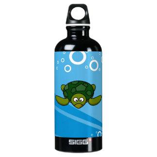 Green Sea Turtle Cartoon Water Bottle