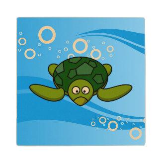 Green Sea Turtle Cartoon Wooden Coaster
