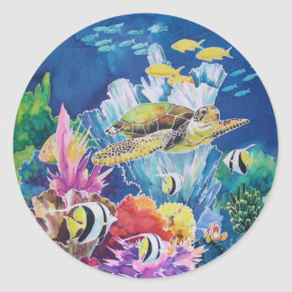 Green Sea Turtle Classic Round Sticker