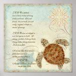 Green Sea Turtle Coastal Beach - 1 Corinthians 13 Posters